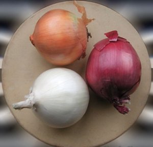 three types of onions - red, yellow and white