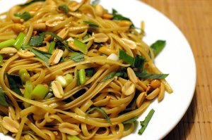 noodles scattered with chopped nuts