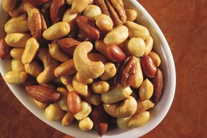 mixed nuts in a plate