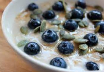 blueberries on porridge