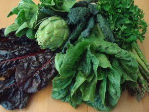 Dark green leaves and vegetables